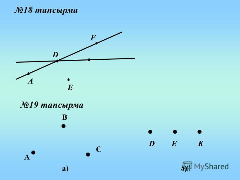 18 тапсырма А D F E 19 тапсырма а)ә) А В С DEK