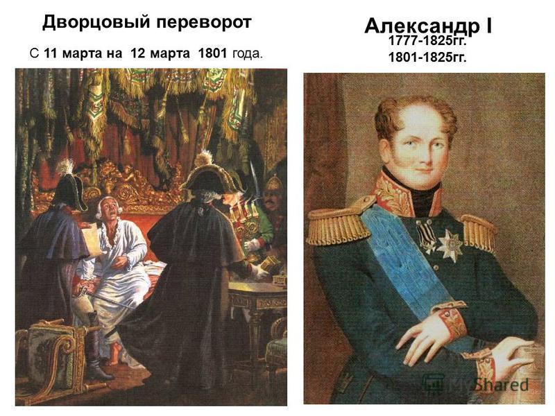 Александр I 1777-1825 гг. 1801-1825 гг. Дворцовый переворот С 11 марта на 12 марта 1801 года.
