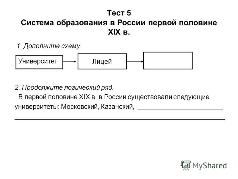 Тест 5 Система образования в России первой половине XIX в. 1. Дополните схему. Университет Лицей 2. Продолжите логический ряд. В первой половине XIX в. в России существовали следующие университеты: Московский, Казанский, _______________________ _____