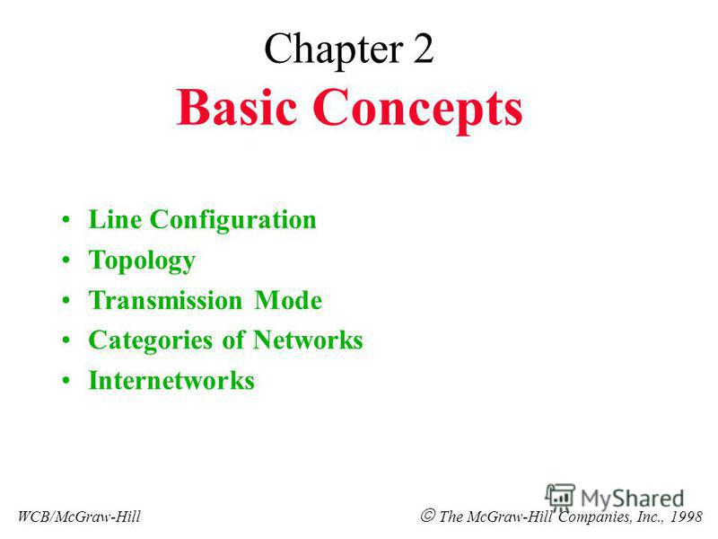 Chapter 2 Basic Concepts Line Configuration Topology Transmission Mode Categories of Networks Internetworks WCB/McGraw-Hill The McGraw-Hill Companies, Inc., 1998