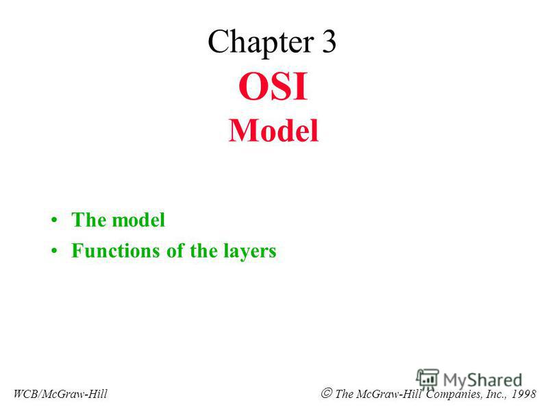 Chapter 3 OSI Model The model Functions of the layers WCB/McGraw-Hill The McGraw-Hill Companies, Inc., 1998