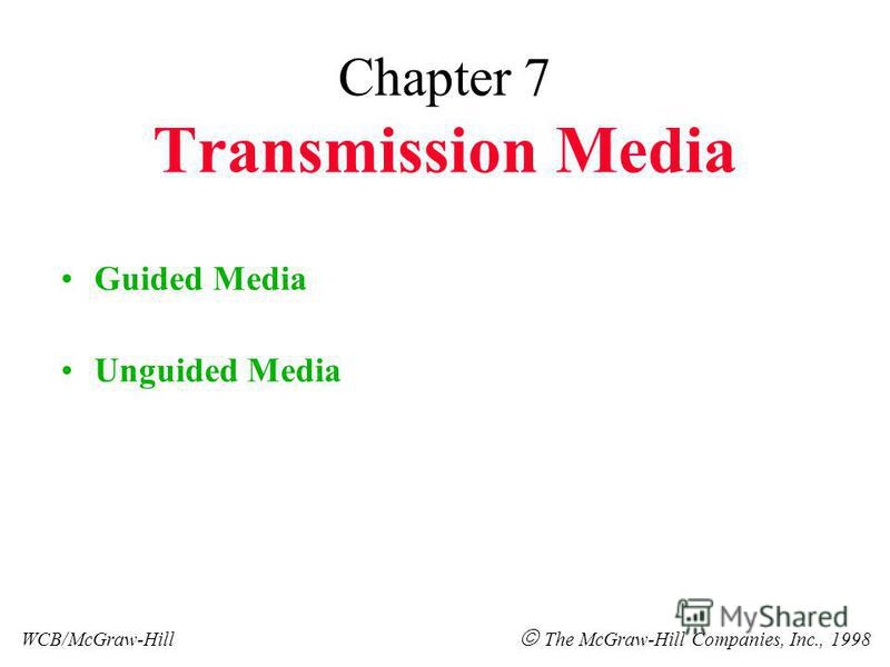 Chapter 7 Transmission Media Guided Media Unguided Media WCB/McGraw-Hill The McGraw-Hill Companies, Inc., 1998