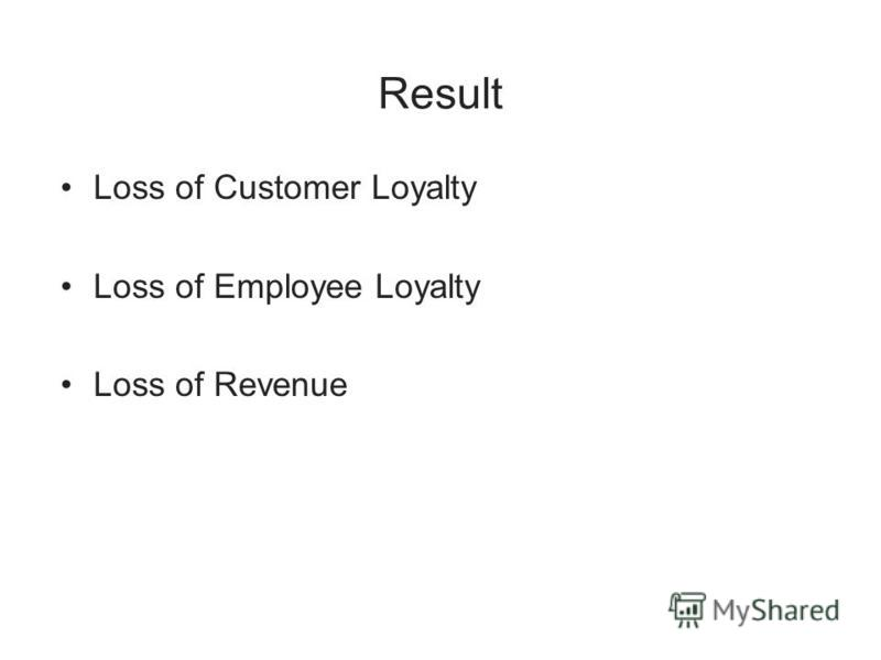 Result Loss of Customer Loyalty Loss of Employee Loyalty Loss of Revenue