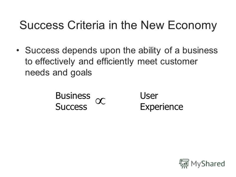 Success Criteria in the New Economy Success depends upon the ability of a business to effectively and efficiently meet customer needs and goals Business Success User Experience