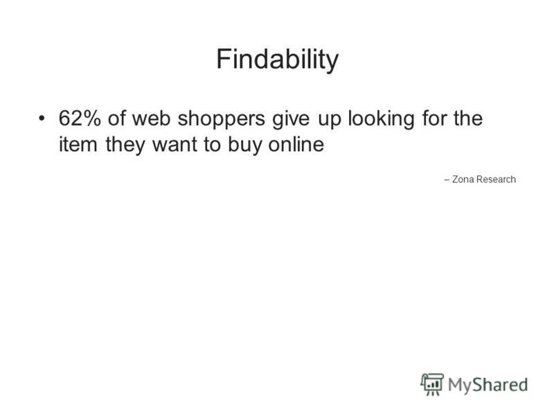Findability 62% of web shoppers give up looking for the item they want to buy online – Zona Research