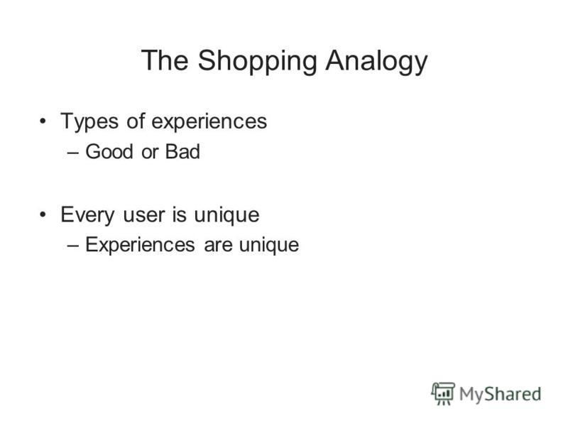 The Shopping Analogy Types of experiences –Good or Bad Every user is unique –Experiences are unique