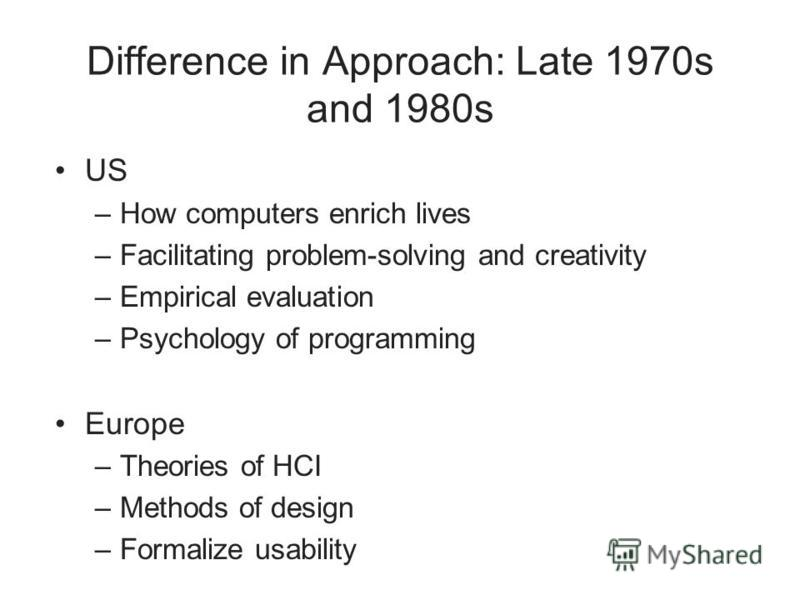 Difference in Approach: Late 1970s and 1980s US –How computers enrich lives –Facilitating problem-solving and creativity –Empirical evaluation –Psychology of programming Europe –Theories of HCI –Methods of design –Formalize usability
