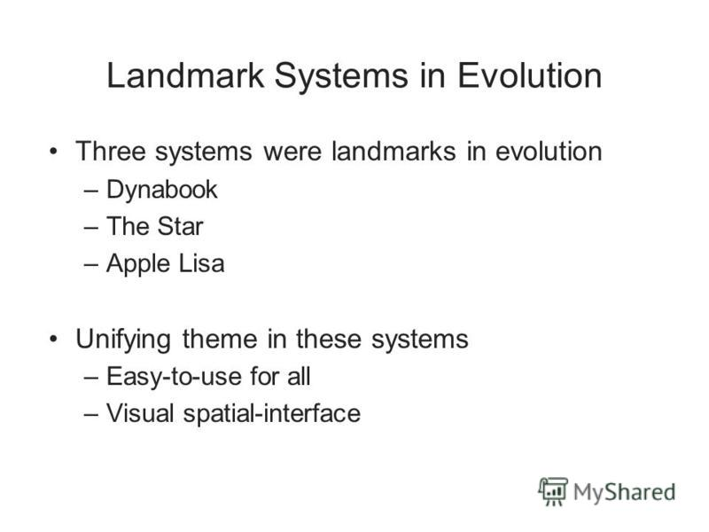 Landmark Systems in Evolution Three systems were landmarks in evolution –Dynabook –The Star –Apple Lisa Unifying theme in these systems –Easy-to-use for all –Visual spatial-interface