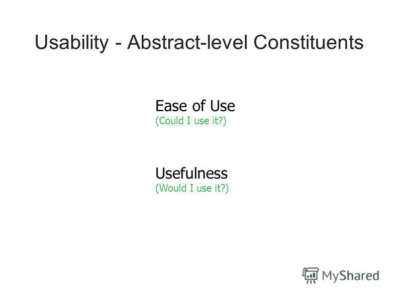 Usability - Abstract-level Constituents Ease of Use (Could I use it?) + Usefulness (Would I use it?)