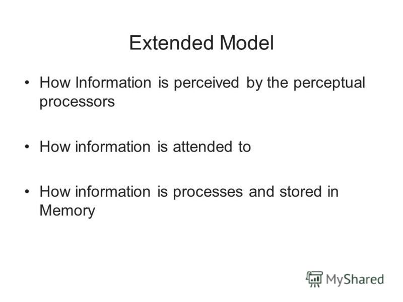 Extended Model How Information is perceived by the perceptual processors How information is attended to How information is processes and stored in Memory