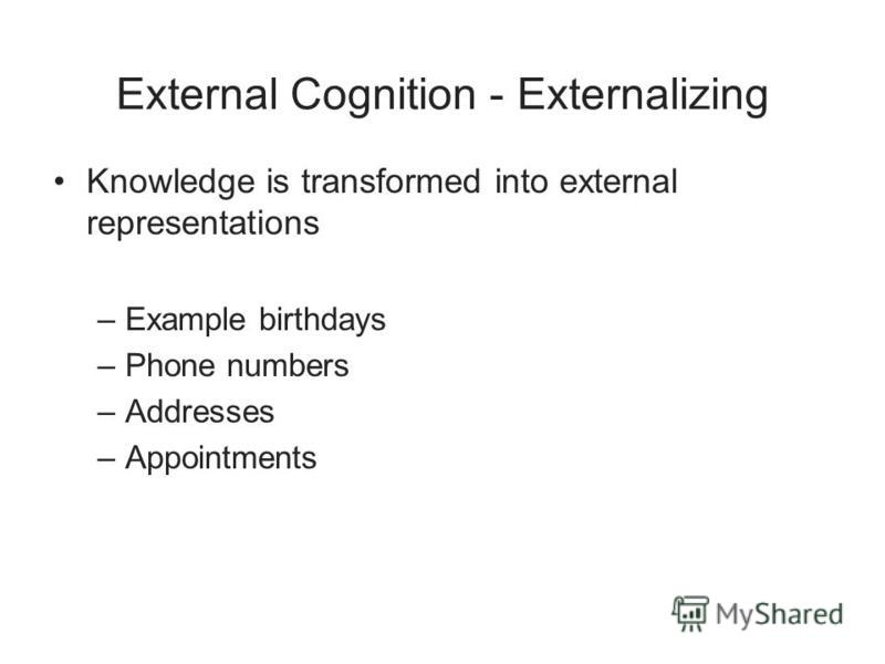 External Cognition - Externalizing Knowledge is transformed into external representations –Example birthdays –Phone numbers –Addresses –Appointments