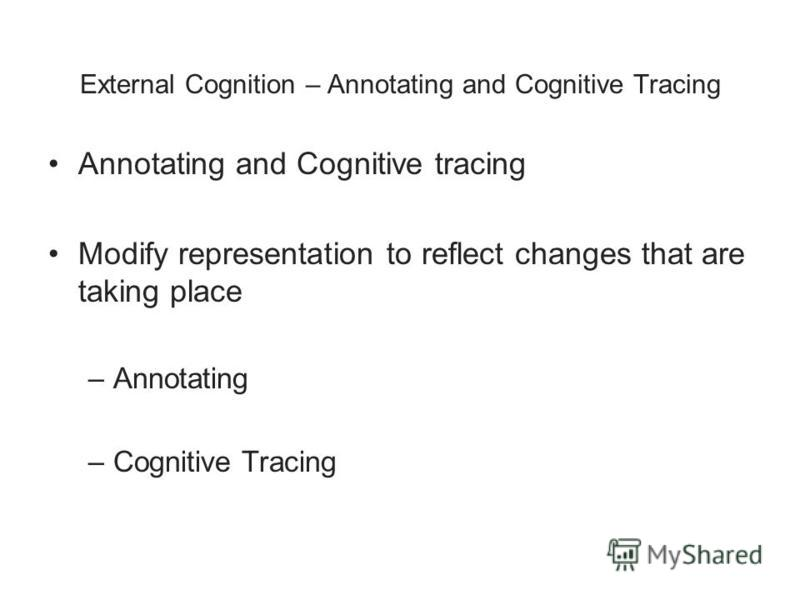 External Cognition – Annotating and Cognitive Tracing Annotating and Cognitive tracing Modify representation to reflect changes that are taking place –Annotating –Cognitive Tracing