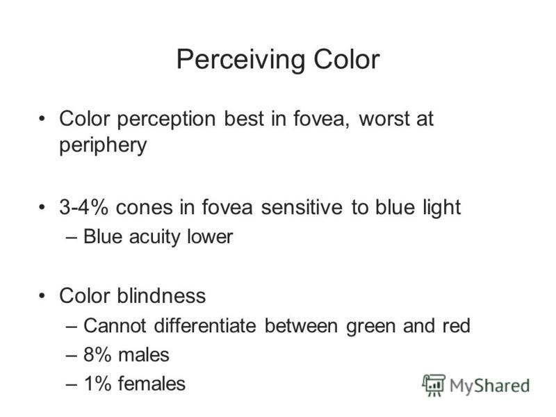Perceiving Color Color perception best in fovea, worst at periphery 3-4% cones in fovea sensitive to blue light –Blue acuity lower Color blindness –Cannot differentiate between green and red –8% males –1% females