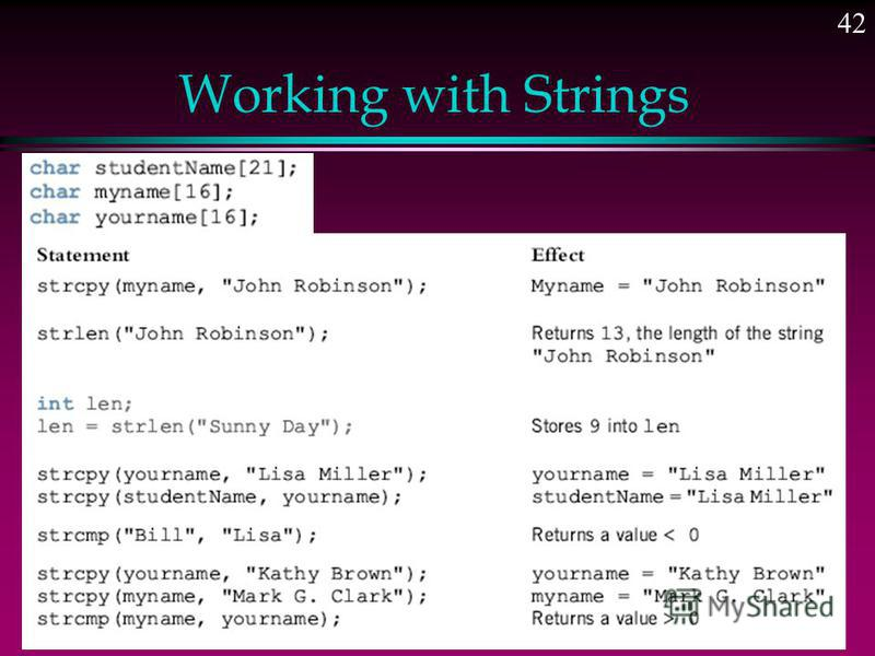 Working with Strings l C-strings are compared character by character using the collating sequence of the system l If we are using the ASCII character set 1. The string