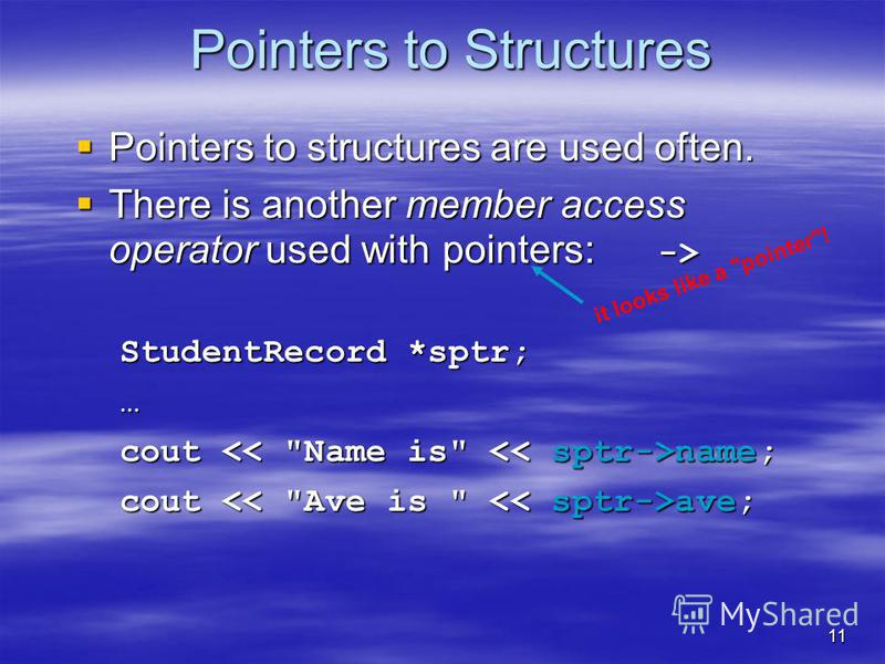 11 Pointers to Structures Pointers to structures are used often. Pointers to structures are used often. There is another member access operator used with pointers: -> There is another member access operator used with pointers: -> StudentRecord *sptr;