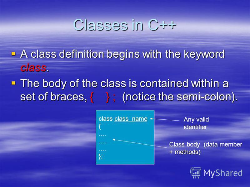 Classes in C++ A class definition begins with the keyword class. A class definition begins with the keyword class. The body of the class is contained within a set of braces, { } ; (notice the semi-colon). The body of the class is contained within a s