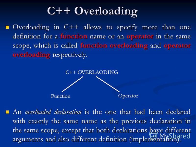 C++ Overloading Overloading in C++ allows to specify more than one definition for a function name or an operator in the same scope, which is called function overloading and operator overloading respectively. Overloading in C++ allows to specify more