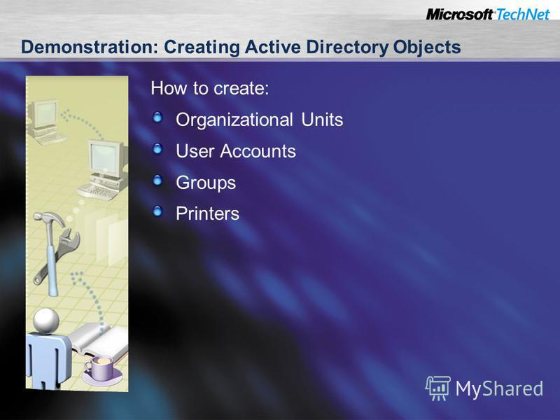 Demonstration: Creating Active Directory Objects How to create: Organizational Units User Accounts Groups Printers
