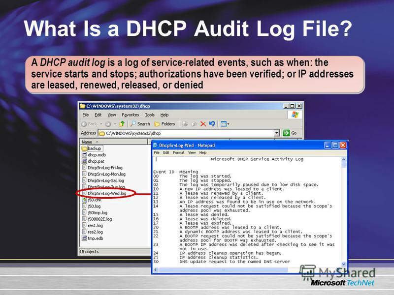 What Is a DHCP Audit Log File? A DHCP audit log is a log of service-related events, such as when: the service starts and stops; authorizations have been verified; or IP addresses are leased, renewed, released, or denied