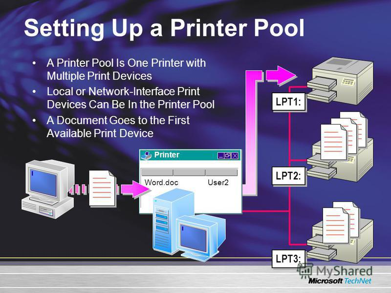 Setting Up a Printer Pool LPT1: LPT2: LPT3: Printer Word.docUser2 A Printer Pool Is One Printer with Multiple Print Devices Local or Network-Interface Print Devices Can Be In the Printer Pool A Document Goes to the First Available Print Device