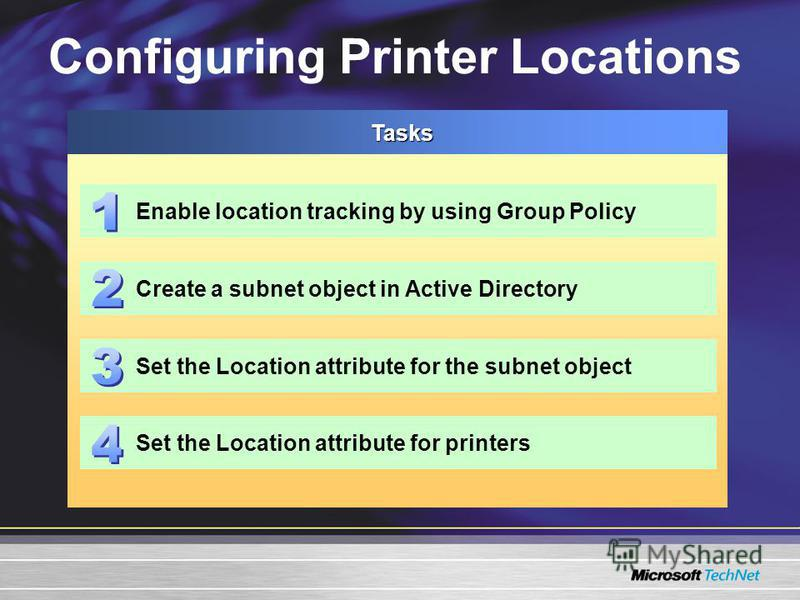 Configuring Printer LocationsTasks Enable location tracking by using Group Policy Create a subnet object in Active Directory Set the Location attribute for the subnet object Set the Location attribute for printers