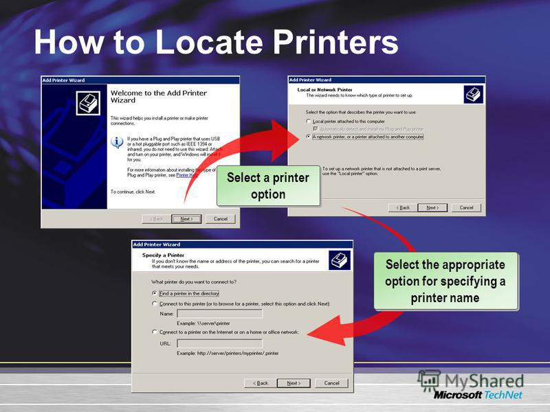How to Locate Printers Select a printer option Select the appropriate option for specifying a printer name