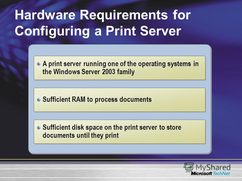 Hardware Requirements for Configuring a Print Server A print server running one of the operating systems in the Windows Server 2003 family Sufficient RAM to process documents Sufficient disk space on the print server to store documents until they pri