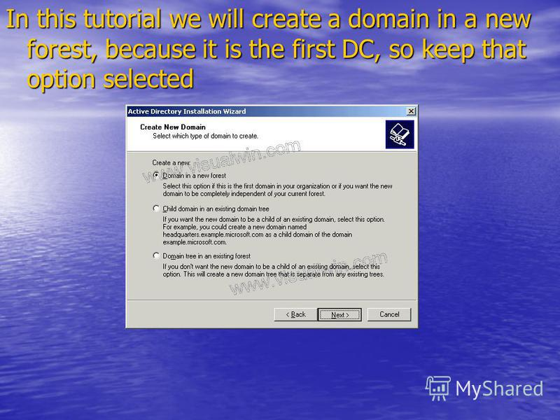 In this tutorial we will create a domain in a new forest, because it is the first DC, so keep that option selected