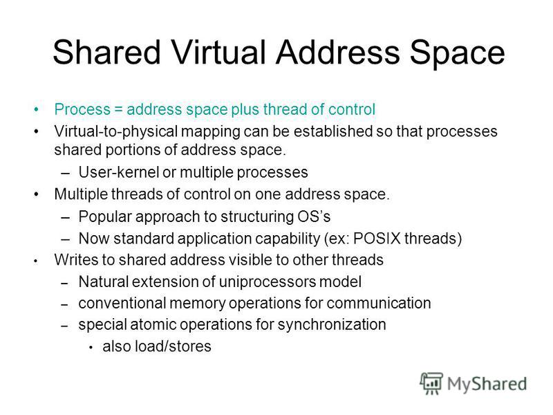 Shared Virtual Address Space Process = address space plus thread of control Virtual-to-physical mapping can be established so that processes shared portions of address space. –User-kernel or multiple processes Multiple threads of control on one addre