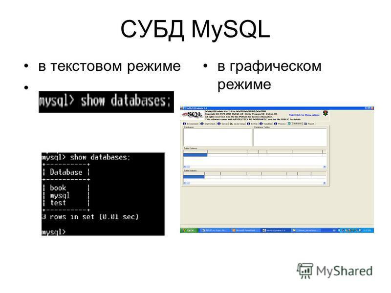 СУБД MySQL в текстовом режиме в графическом режиме