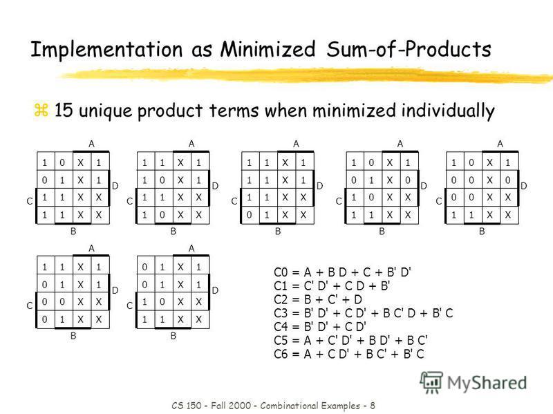 CS 150 - Fall 2000 - Combinational Examples - 8 C0 = A + B D + C + B' D' C1 = C' D' + C D + B' C2 = B + C' + D C3 = B' D' + C D' + B C' D + B' C C4 = B' D' + C D' C5 = A + C' D' + B D' + B C' C6 = A + C D' + B C' + B' C Implementation as Minimized Su