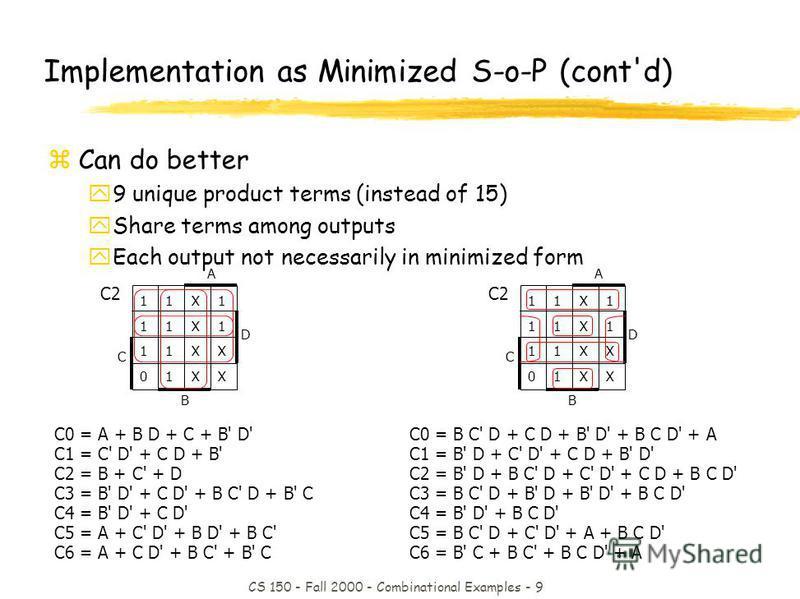 CS 150 - Fall 2000 - Combinational Examples - 9 C0 = B C' D + C D + B' D' + B C D' + A C1 = B' D + C' D' + C D + B' D' C2 = B' D + B C' D + C' D' + C D + B C D' C3 = B C' D + B' D + B' D' + B C D' C4 = B' D' + B C D' C5 = B C' D + C' D' + A + B C D'