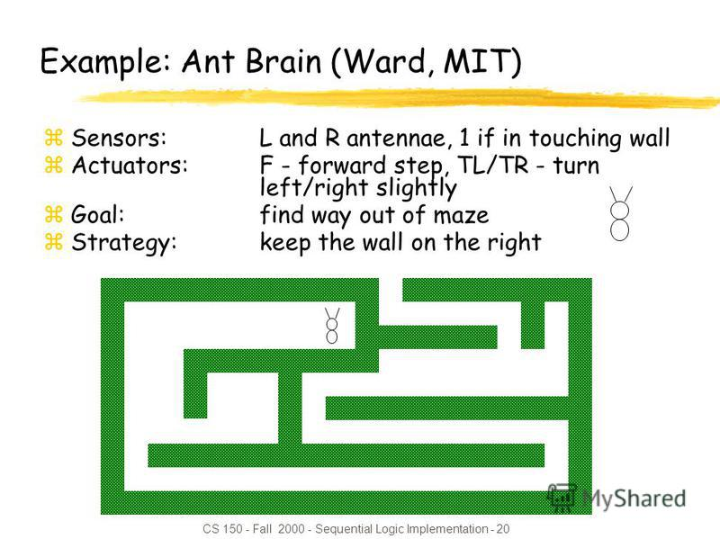 CS 150 - Fall 2000 - Sequential Logic Implementation - 20 Example: Ant Brain (Ward, MIT) zSensors: L and R antennae, 1 if in touching wall zActuators: F - forward step, TL/TR - turn left/right slightly zGoal: find way out of maze zStrategy: keep the