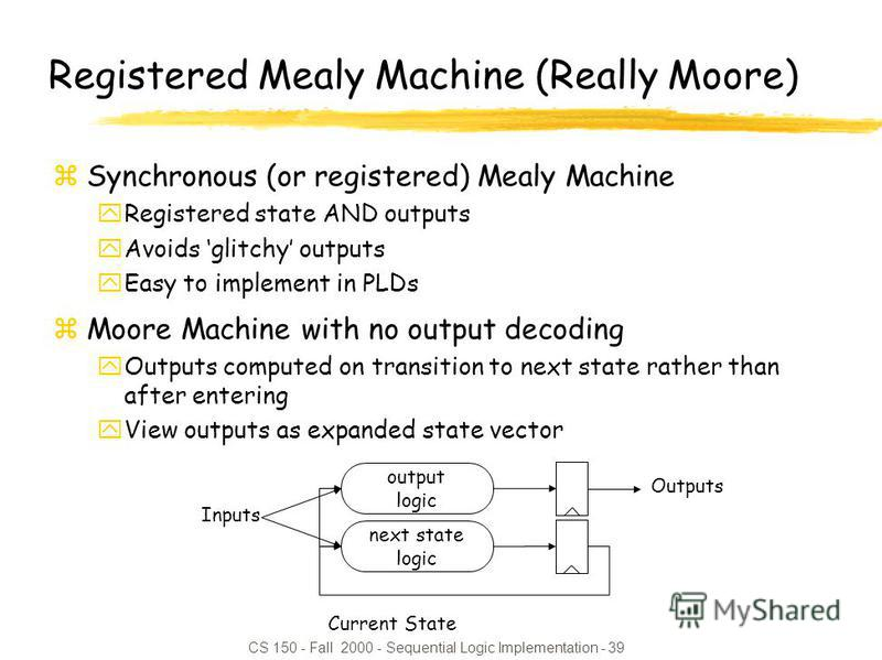 CS 150 - Fall 2000 - Sequential Logic Implementation - 39 Registered Mealy Machine (Really Moore) zSynchronous (or registered) Mealy Machine yRegistered state AND outputs yAvoids glitchy outputs yEasy to implement in PLDs zMoore Machine with no outpu