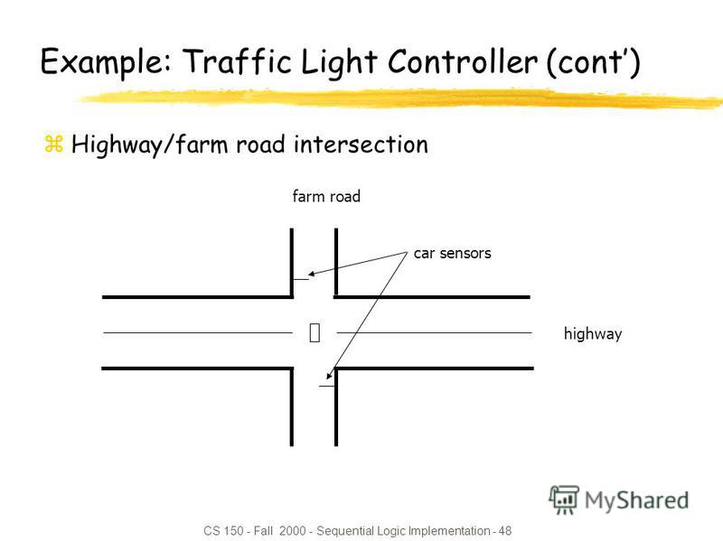 CS 150 - Fall 2000 - Sequential Logic Implementation - 48 highway farm road car sensors Example: Traffic Light Controller (cont) zHighway/farm road intersection