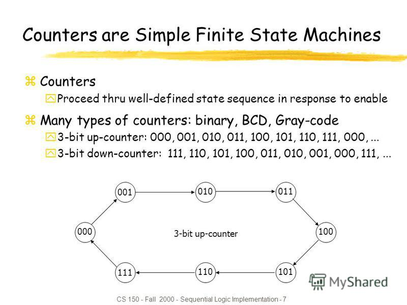 CS 150 - Fall 2000 - Sequential Logic Implementation - 7 010 100 110 011 001 000 101 111 3-bit up-counter Counters are Simple Finite State Machines zCounters yProceed thru well-defined state sequence in response to enable zMany types of counters: bin