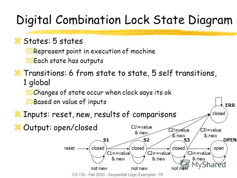 CS 150 - Fall 2000 - Sequential Logic Examples - 18 Digital Combination Lock State Diagram zStates: 5 states yRepresent point in execution of machine yEach state has outputs zTransitions: 6 from state to state, 5 self transitions, 1 global yChanges o