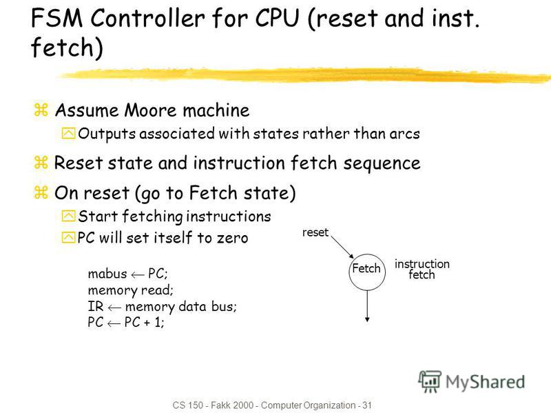 CS 150 - Fakk 2000 - Computer Organization - 31 FSM Controller for CPU (reset and inst. fetch) zAssume Moore machine yOutputs associated with states rather than arcs zReset state and instruction fetch sequence zOn reset (go to Fetch state) yStart fet