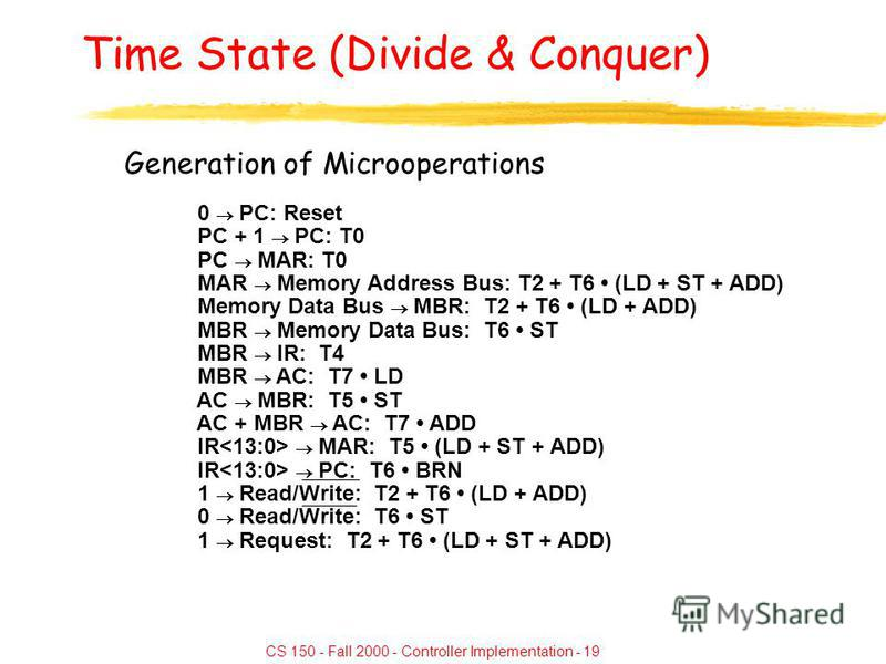 CS 150 - Fall 2000 - Controller Implementation - 19 Time State (Divide & Conquer) Generation of Microoperations 0 PC: Reset PC + 1 PC: T0 PC MAR: T0 MAR Memory Address Bus: T2 + T6 (LD + ST + ADD) Memory Data Bus MBR: T2 + T6 (LD + ADD) MBR Memory Da