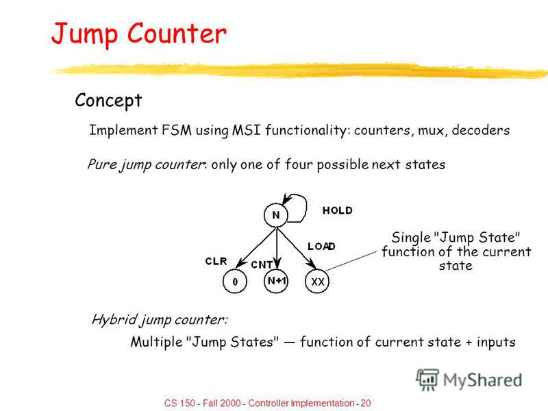 CS 150 - Fall 2000 - Controller Implementation - 20 Jump Counter Concept Implement FSM using MSI functionality: counters, mux, decoders Pure jump counter: only one of four possible next states Single