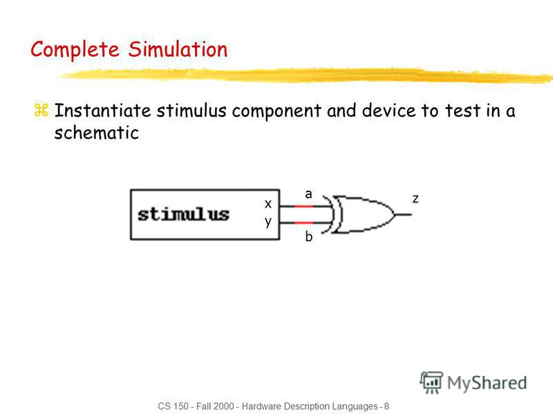 CS 150 - Fall 2000 - Hardware Description Languages - 8 Complete Simulation zInstantiate stimulus component and device to test in a schematic x y a b z