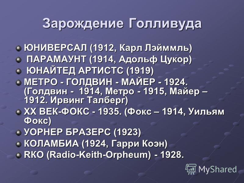 Зарождение Голливуда ЮНИВЕРСАЛ (1912, Карл Лэйммль) ПАРАМАУНТ (1914, Адольф Цукор) ПАРАМАУНТ (1914, Адольф Цукор) ЮНАЙТЕД АРТИСТС (1919) ЮНАЙТЕД АРТИСТС (1919) МЕТРО - ГОЛДВИН - МАЙЕР - 1924. (Голдвин - 1914, Метро - 1915, Майер – 1912. Ирвинг Талбер