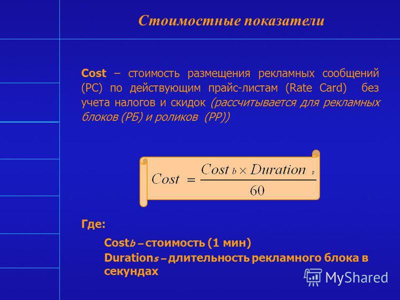 Стоимостные показатели Cost CPT CPP CPT/OTS