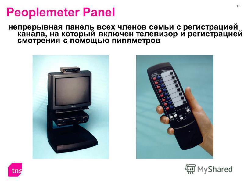 17 Peoplemeter Panel непрерывная панель всех членов семьи с регистрацией канала, на который включен телевизор и регистрацией смотрения с помощью пиплметров
