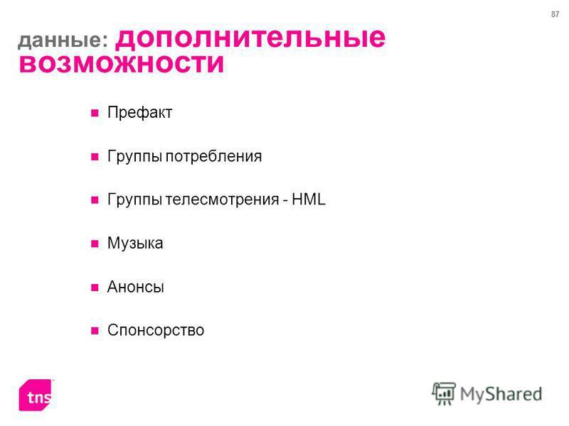 87 Префакт Группы потребления Группы телесмотрения - HML Музыка Анонсы Спонсорство данные: дополнительные возможности