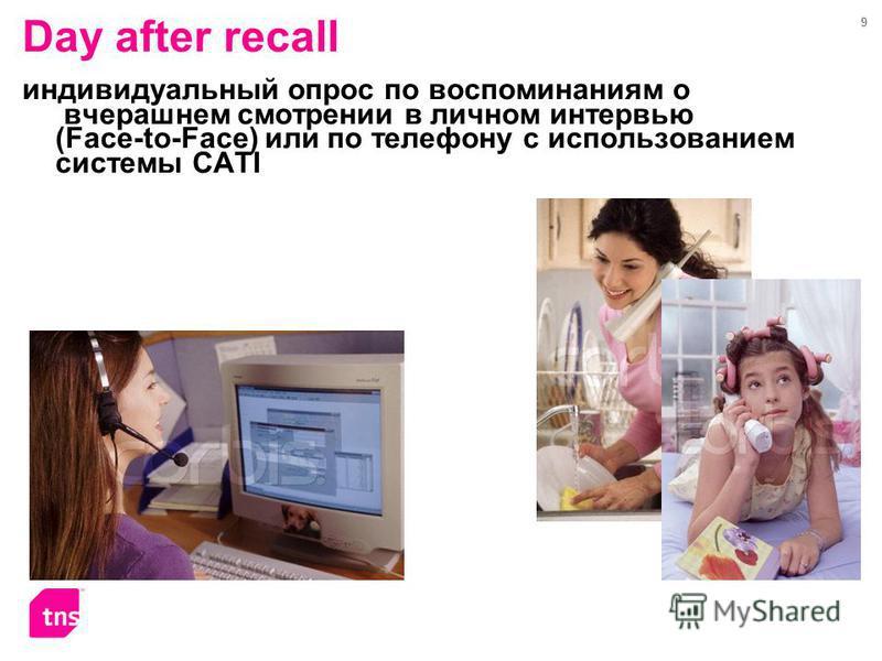 9 Day after recall индивидуальный опрос по воспоминаниям о вчерашнем смотрении в личном интервью (Face-to-Face) или по телефону с использованием системы CATI