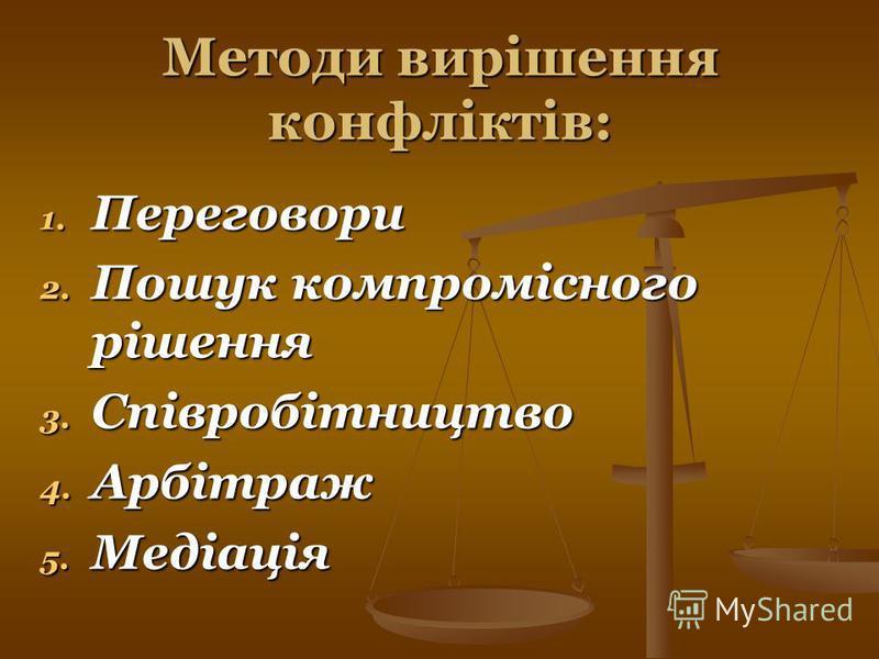 Методи вирішення конфліктів: 1. Переговори 2. Пошук компромісного рішення 3. Співробітництво 4. Арбітраж 5. Медіація
