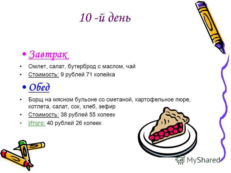 10 -й день Завтрак Омлет, салат, бутерброд с маслом, чай Стоимость: 9 рублей 71 копейка Обед Борщ на мясном бульоне со сметаной, картофельное пюре, котлета, салат, сок, хлеб, зефир Стоимость: 38 рублей 55 копеек Итого: 40 рублей 26 копеек