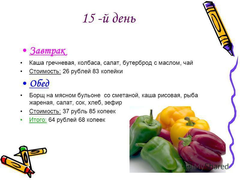 15 -й день Завтрак Каша гречневая, колбаса, салат, бутерброд с маслом, чай Стоимость: 26 рублей 83 копейки Обед Борщ на мясном бульоне со сметаной, каша рисовая, рыба жареная, салат, сок, хлеб, зефир Стоимость: 37 рубль 85 копеек Итого: 64 рублей 68