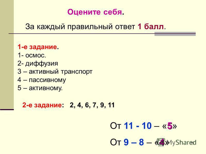 15 Оцените себя. За каждый правильный ответ 1 балл. 1-е задание. 1- осмос. 2- диффузия 3 – активный транспорт 4 – пассивному 5 – активному. 2-е задание: 2, 4, 6, 7, 9, 11 5 От 11 - 10 – «5» 4 От 9 – 8 – «4»